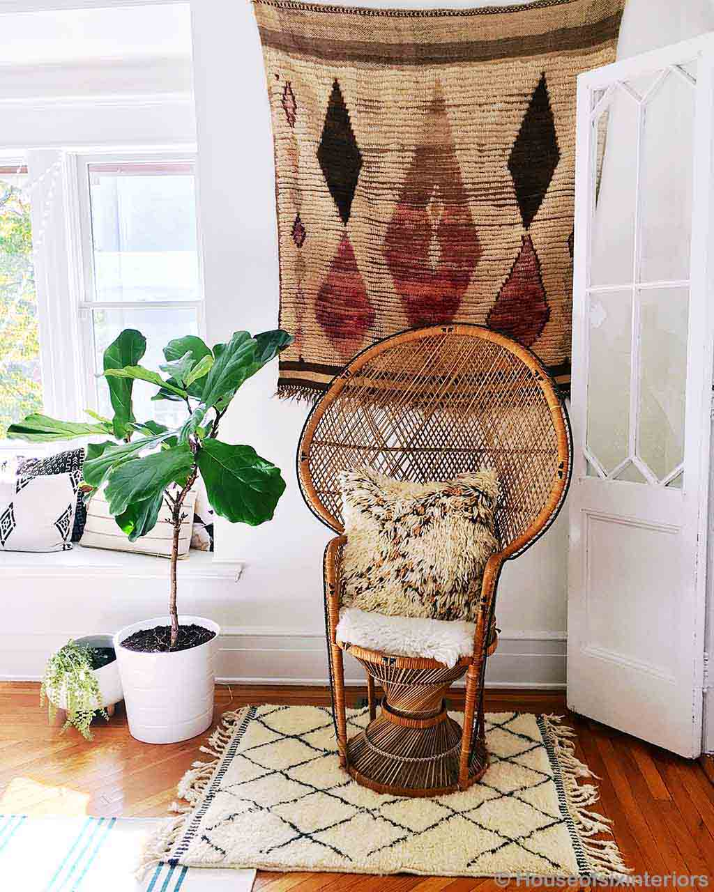 brown chair and pots asian modern rectangular rug