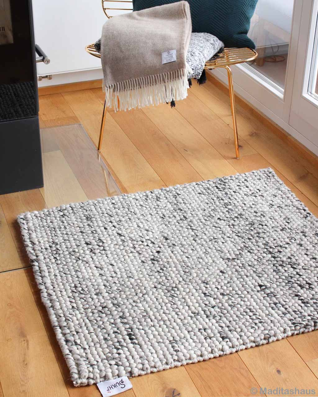 brown wooden floor modern braided felt accent rug