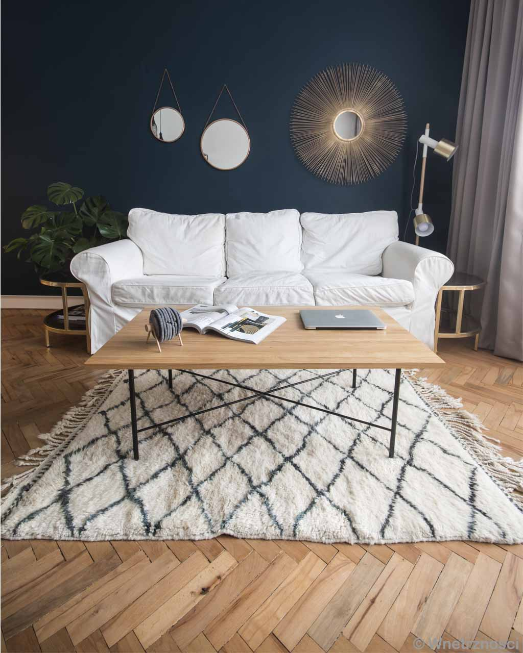 hand knotted white sofa and assorted mirrors morocco modern rectangular rug