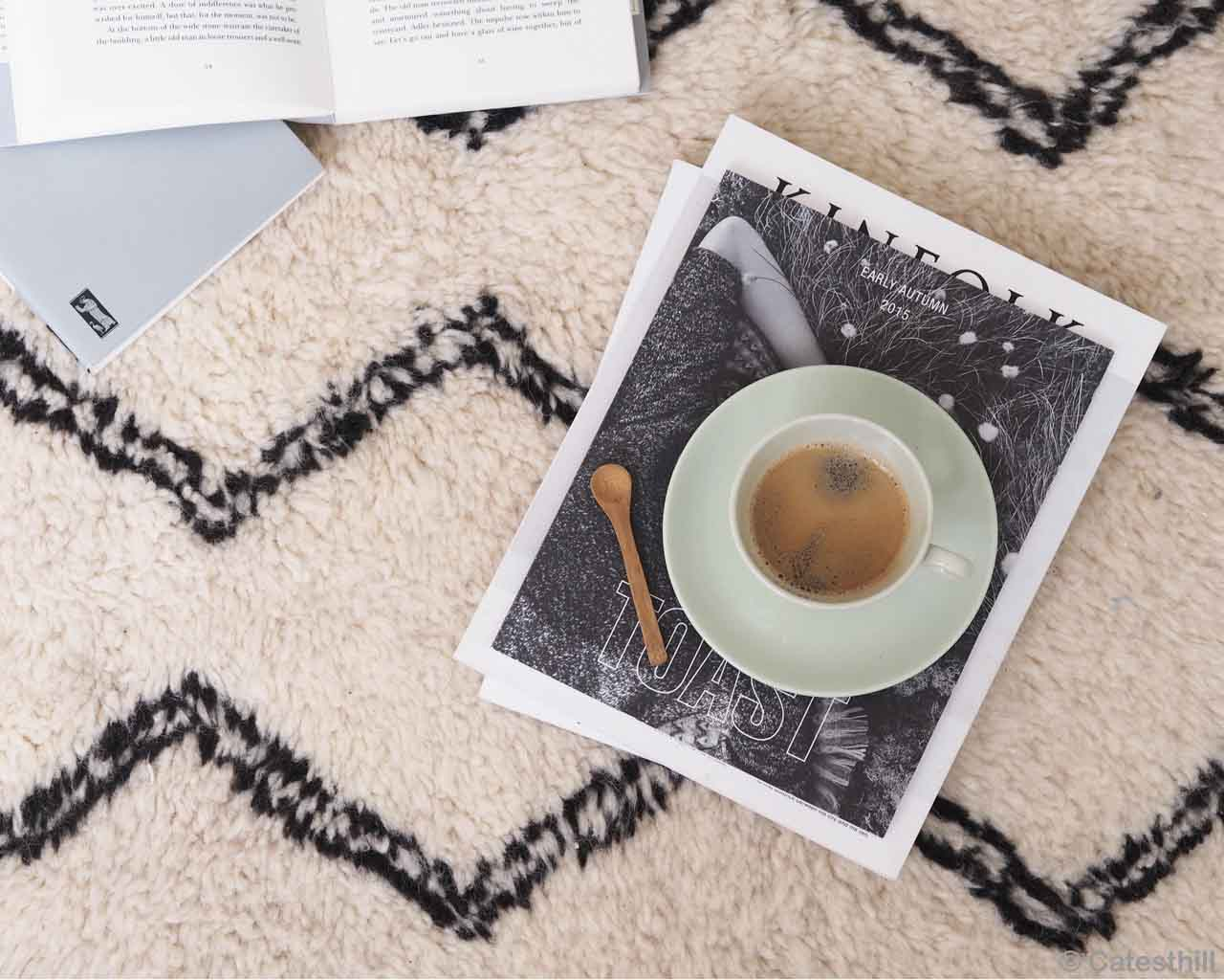 spoon tea and books made by moroccan kitchen rugs