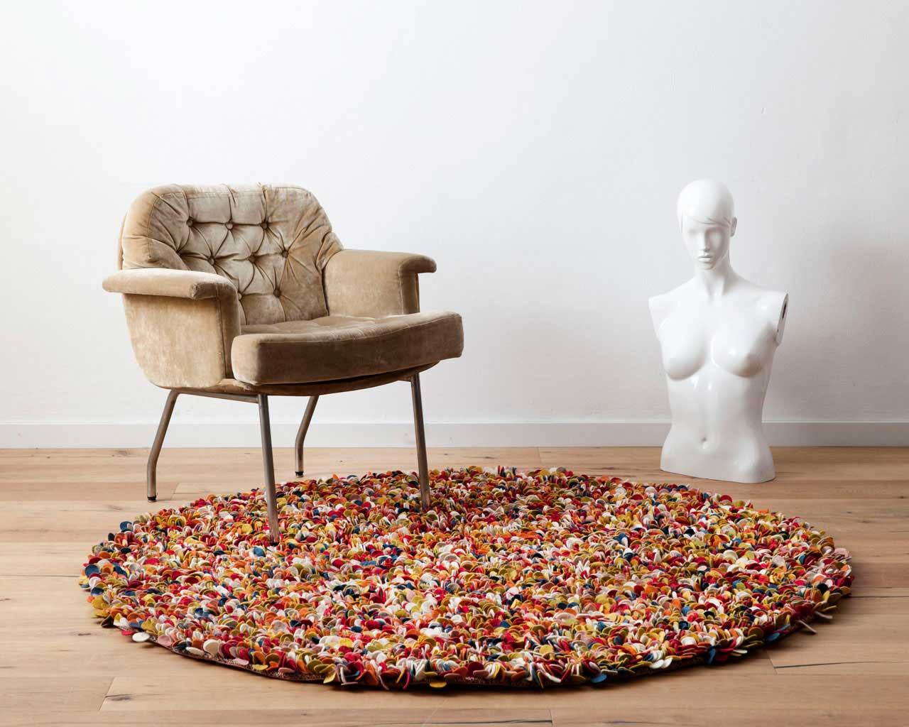 sixties round carpet multi colours
