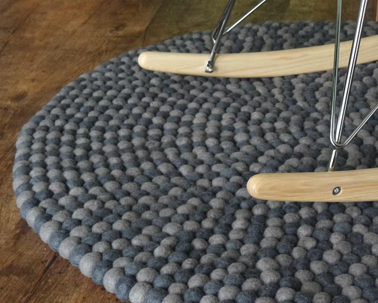 rockingchair wood on wool rug round