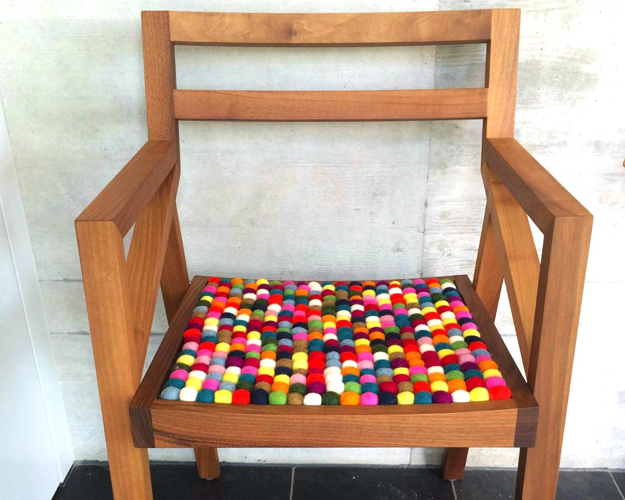 brown chair multi colour seat