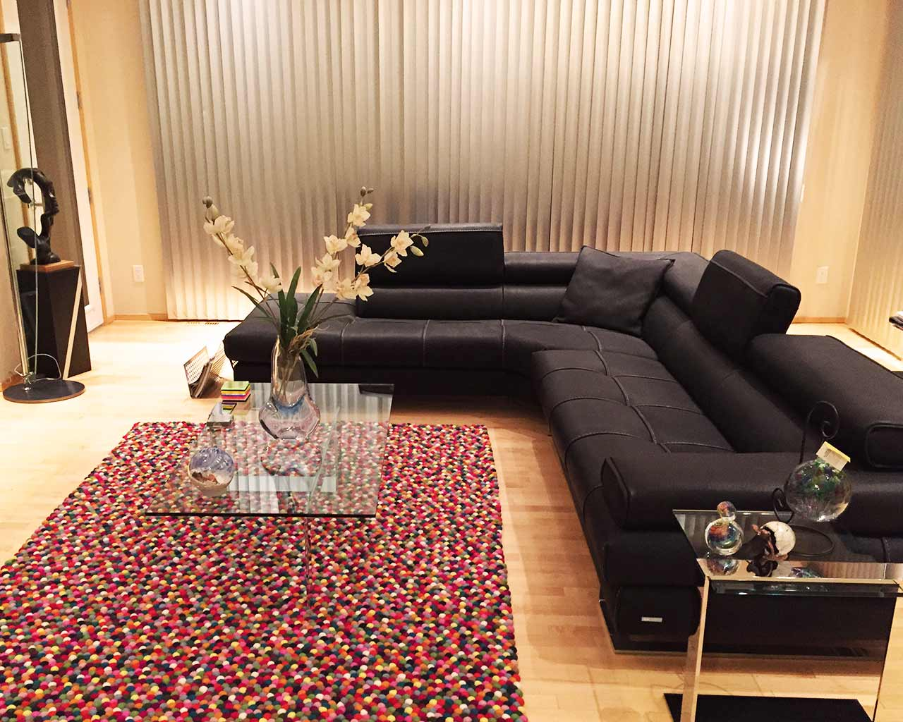 multi color rectangle felt rug HAY living room