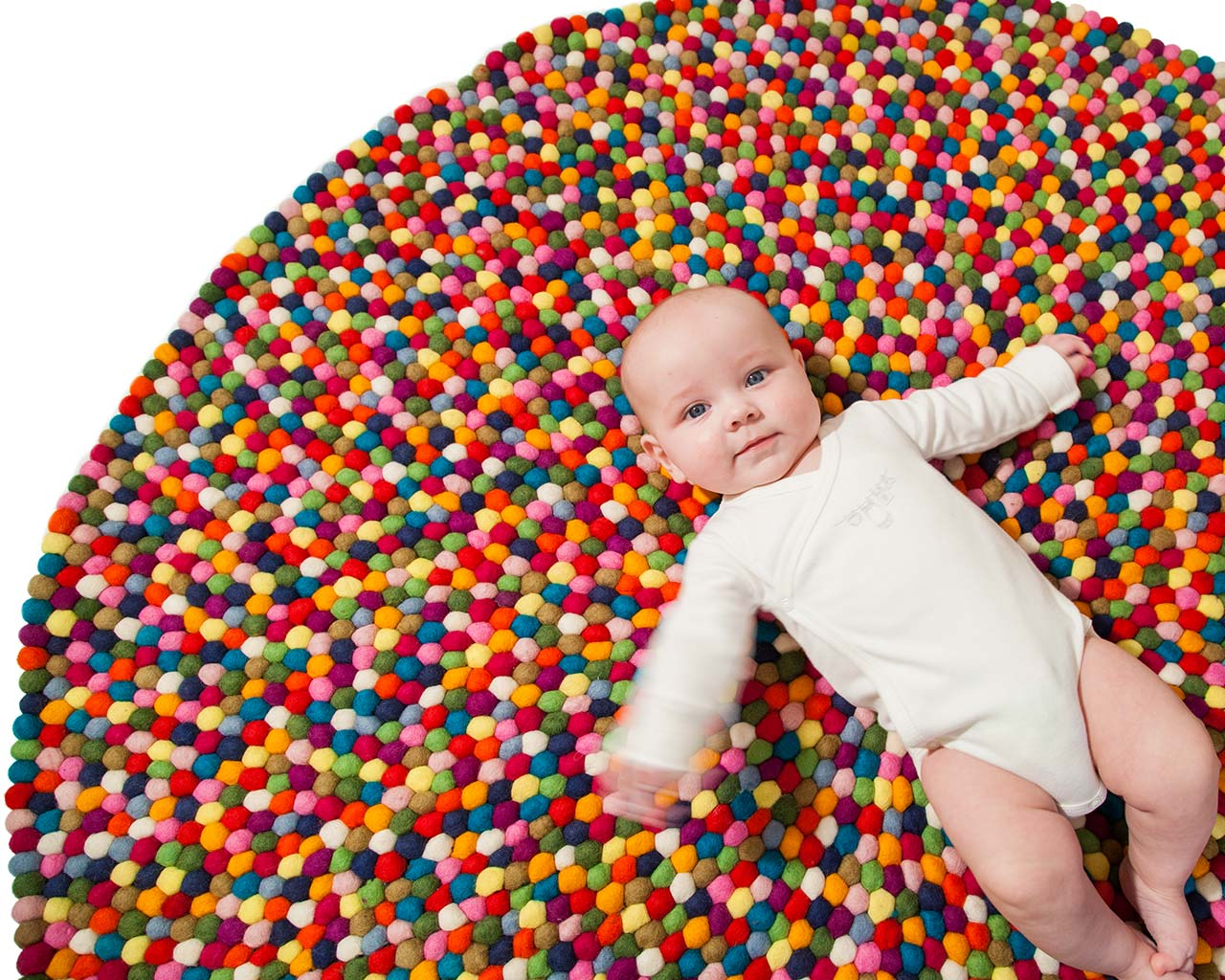 multi colorful felt ball rugs baby