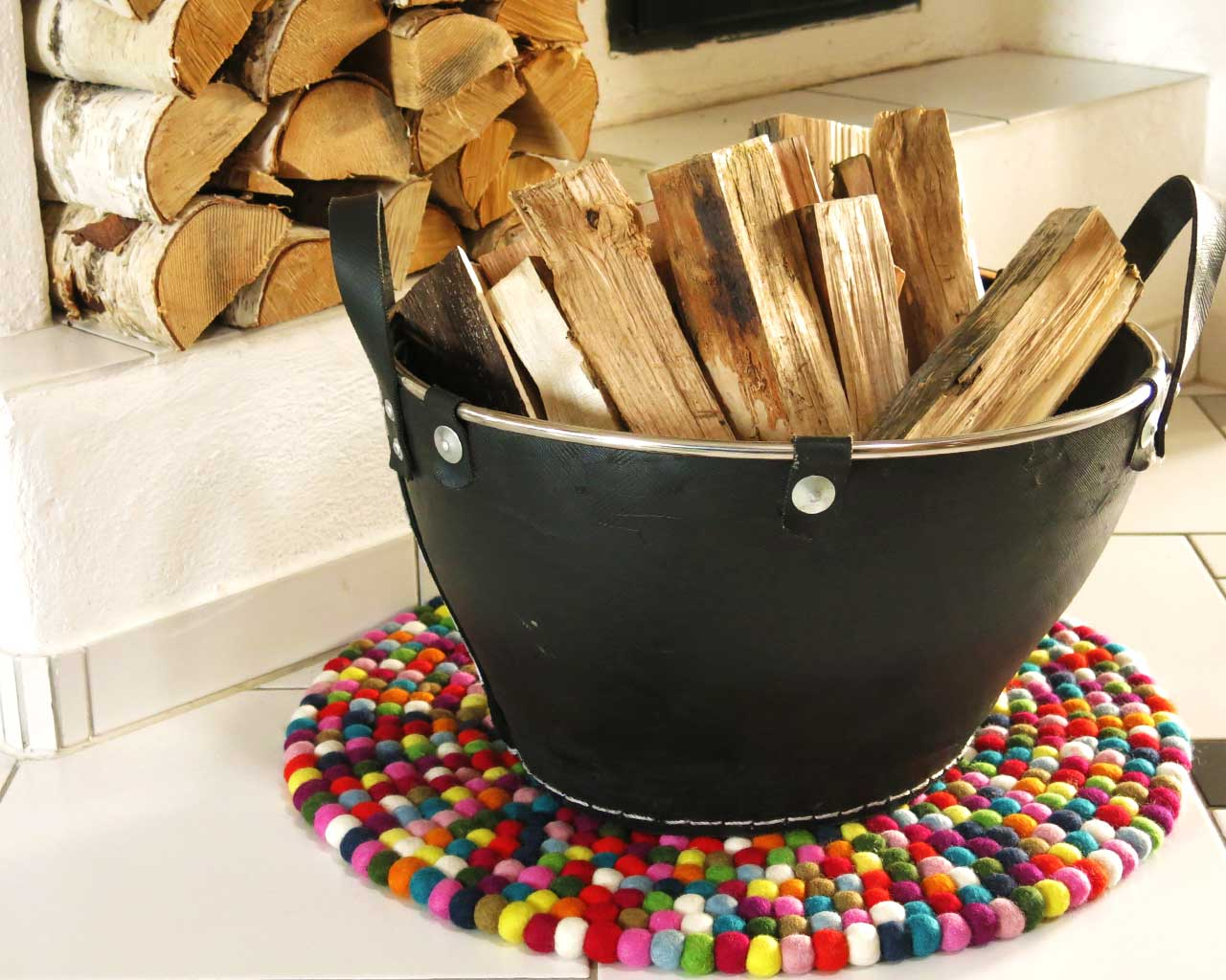 wood in basket multi color coaster
