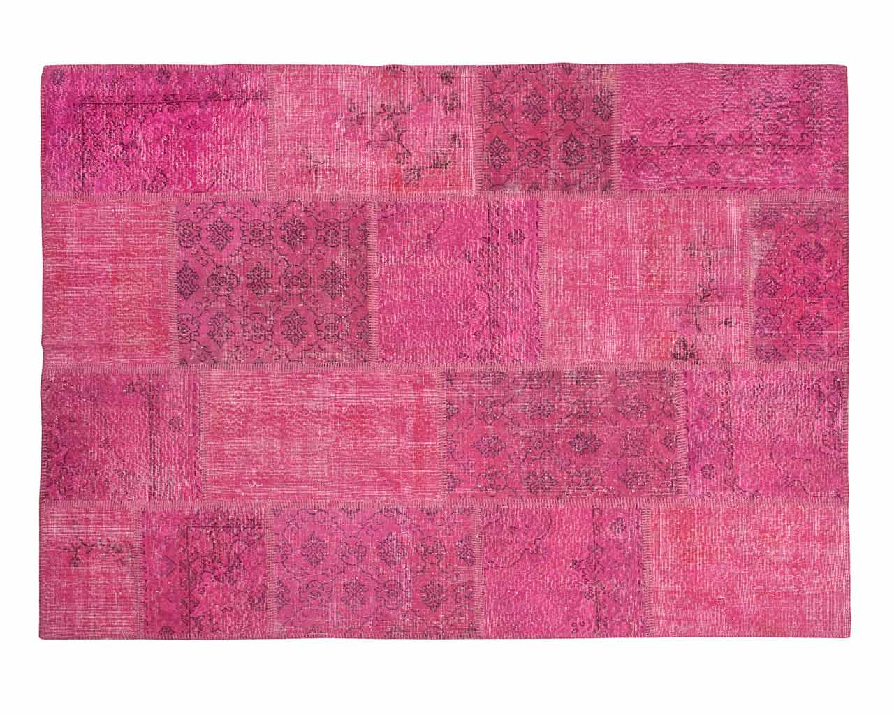 rectangular carpet patchwork pink handmade